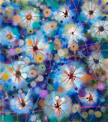 Abstract floral watercolor painting. Hand paint White flowers in soft color on blue and green color background. Spring flower seasonal nature background - 89018276