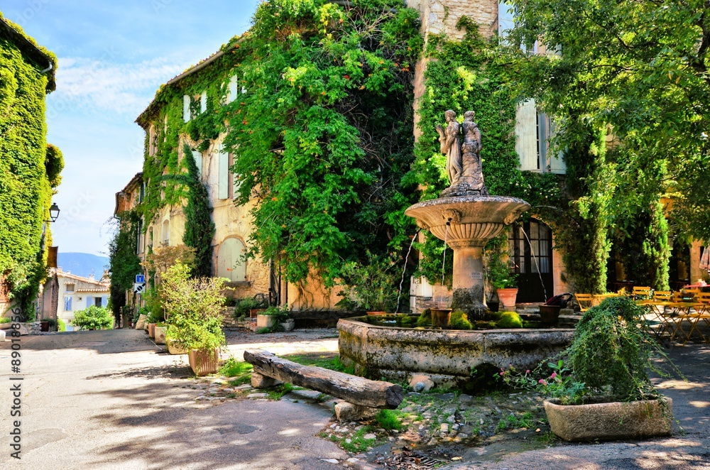 Fototapety, obrazy: Leafy town square with fountain in a picturesque village in Provence, France