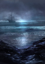 Ghost Ship. Illustration Of A Cold Dark Blue Sea Landscape And Ghost Ship Sailing On The Horizon.