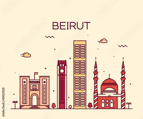 Canvas Print Beirut skyline trendy vector illustration linear