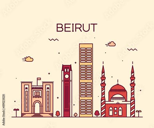 Fotografija Beirut skyline trendy vector illustration linear