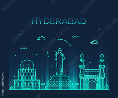 Hyderabad skyline vector illustration linear Fototapete