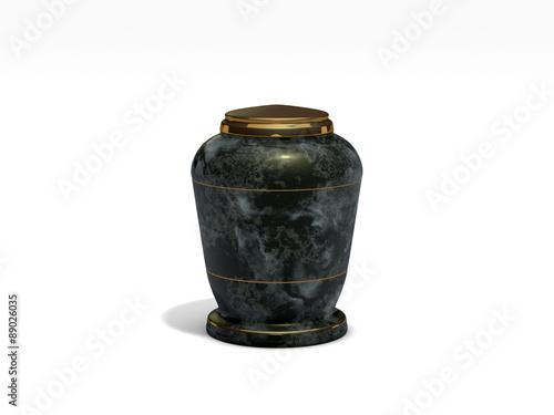 onyx stone funeral urn on white background Canvas