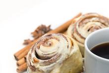 Cinnamon Rolls And Coffee Isol...