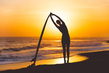 Yoga With Surfboard