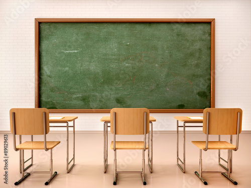 Fotografie, Tablou 3d illustration of bright empty classroom for lessons and traini