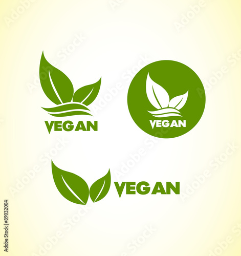 Fotografie, Obraz  Vegan vegetarian logo icon set