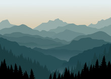 Mountain Landscape At Dawn. Ve...
