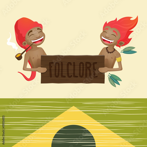 Fotografia  Saci pererê and Curupira - characters of the brazilian folklore holding a wooden