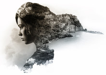 Double Exposure Portrait Of A Woman And View Of Manarola. Italy