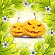 Leinwandbild Motiv Halloween Pumpkins with Leaves
