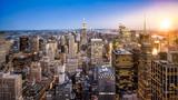 Fototapeta Nowy Jork - Manhattan Skyline mit Empire State Building bei Sonnenuntergang in New York City USA