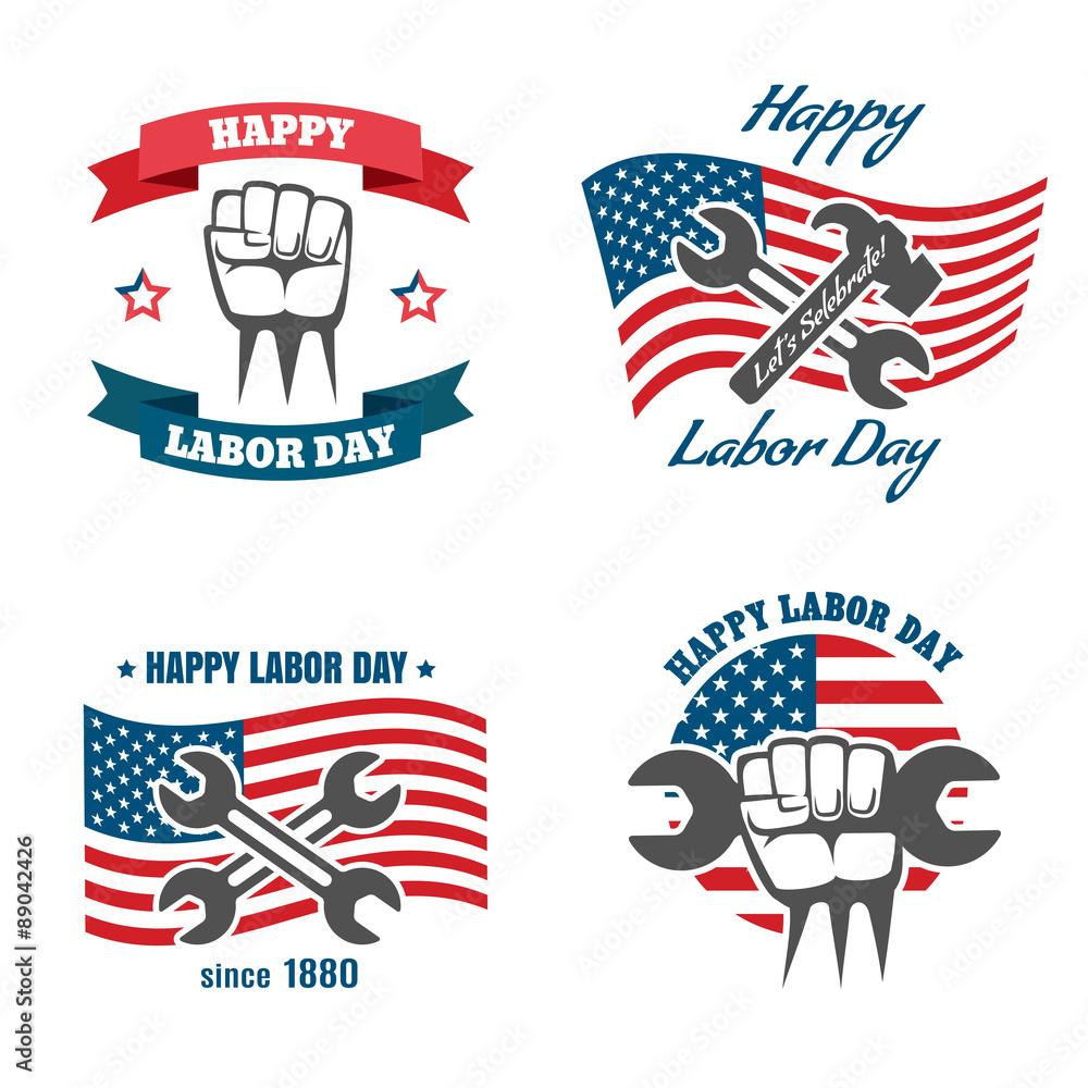 United States Labor Day National Holiday Vector Logos Badges Foto