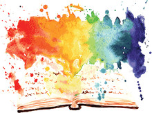 Watercolor Painted Book Contai...