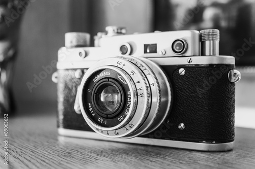 Russian Soviet Vintage Camera Zorkiy 2-S. Zorki 2-S is small-f Wallpaper Mural