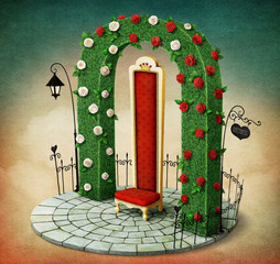 Fantasy illustration with green arch and  red royal chair