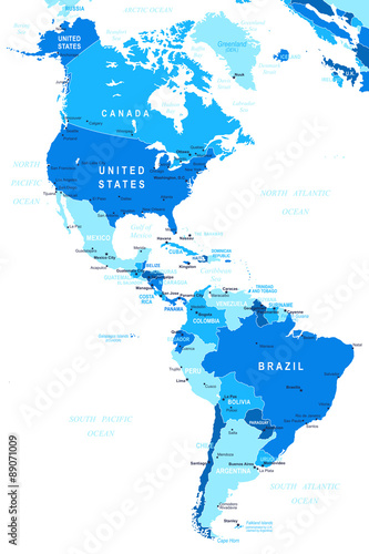 North and South America map - highly detailed vector ...