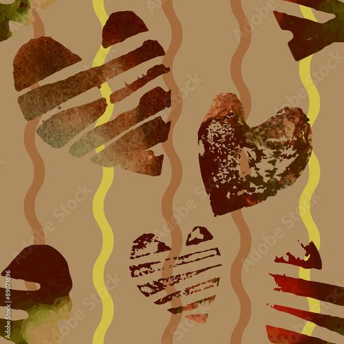Keuken foto achterwand Vrouw gezicht Seamless pattern with grunge hearts.
