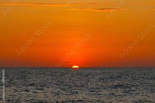 Beach Orange sunset in the ocean