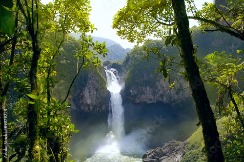 Photo Stands South America Country San Rafael Falls. The Largest Waterfall in Ecuador