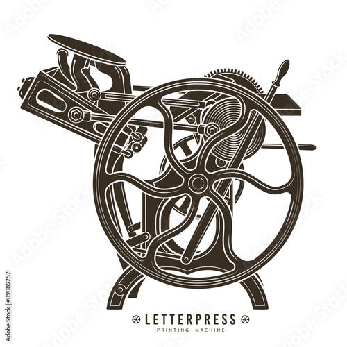 Fotografie, Tablou Letterpress printing machine vector illustration. Vintage print