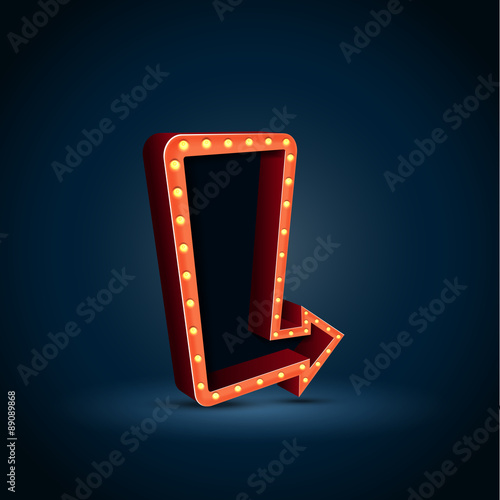 Photo  Retro arrow with space for text blue background. vector