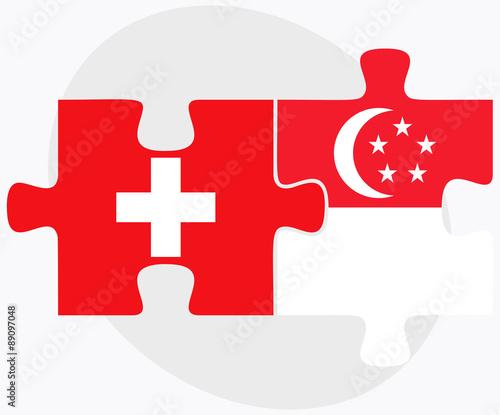 Photo  Switzerland and Singapore Flags