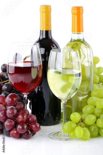 Fototapety, obrazy: Bottiglie di vino con uva