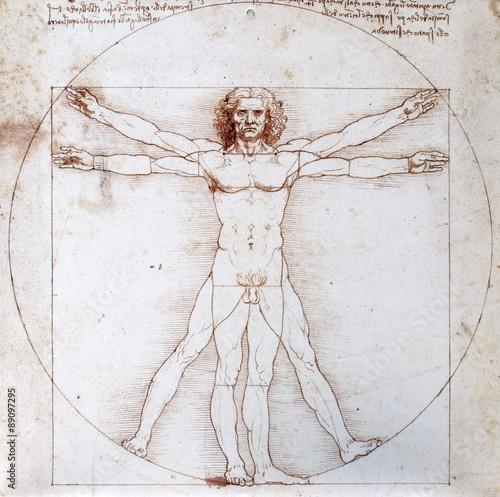 Leonardo da Vinci - Proportionsschema der menschlichen Gestalt nach Vitruv Fotobehang