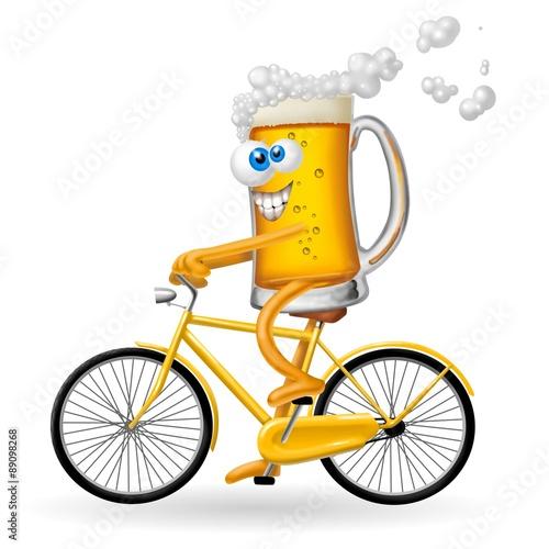 Fotografie, Obraz  birra in bicicletta