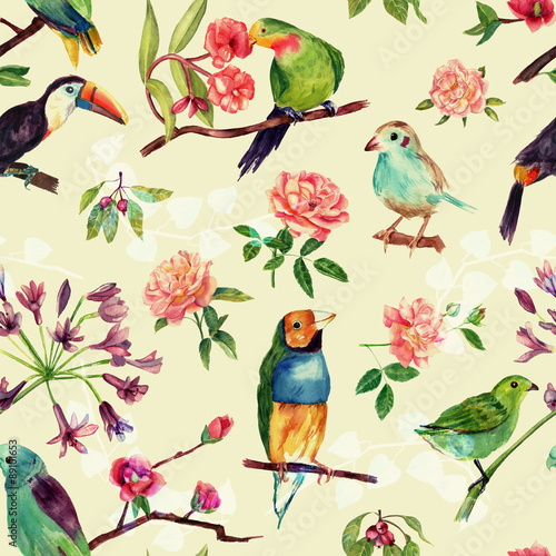 Fotobehang Papegaai A seamless pattern with vintage style watercolor birds and roses