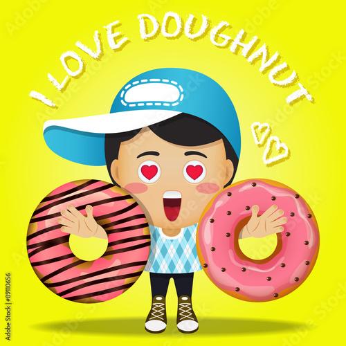 Staande foto Kinderkamer happy man carrying big strawberry doughnut or donuts