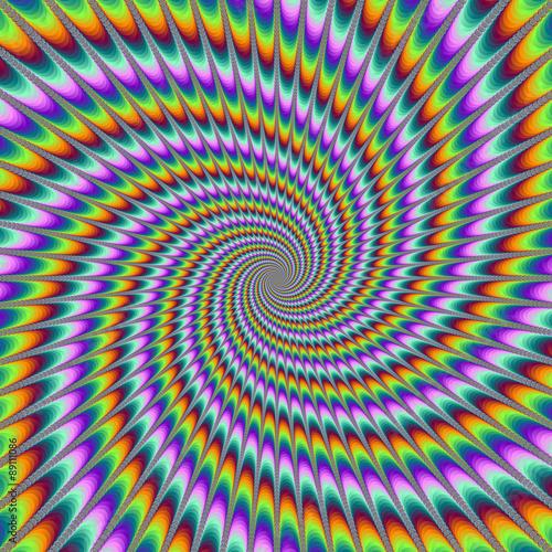 Dizzy Swirl / Cyfrowy abstrakcyjny obraz fraktalny z trudnym optycznie wzorem wirowania w kolorze żółtym, pomarańczowym, niebieskim, zielonym, turkusowym i fioletowym.