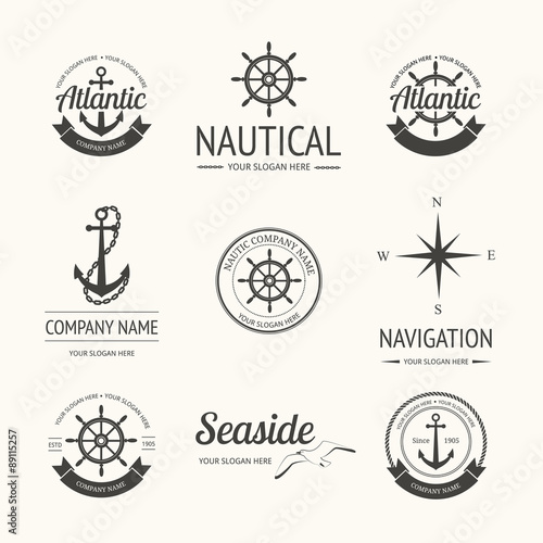 Fotografia  Set of retro nautical labels
