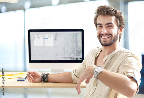Young man working on computer