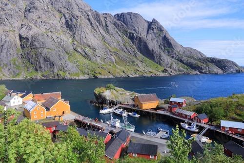 Montage in der Fensternische Skandinavien Lofoten, Norway - Nusfjord