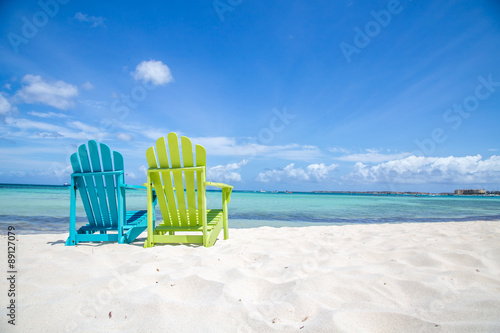 Deurstickers Caraïben Caribbean Beach Chair