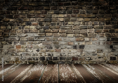 Fotografie, Obraz  emty room with old rustic brickwall