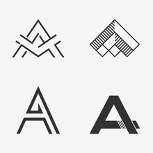 The Set Of Letter A Sign, Logo, Icon Design Template Elements. One Color. Stock Vector.