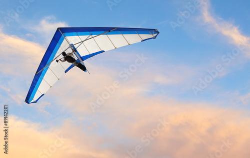Spoed Fotobehang Luchtsport Hang glider fling over the ocean at sunset