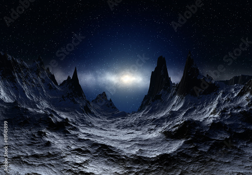 Alien Planet - 3D Rendered Landscape #89145899