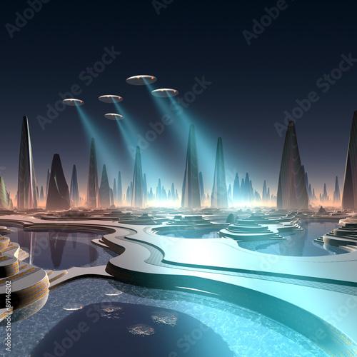 futurystyczne-miasto-obcych-patrolowane-przez-sluzby-porzadkowe