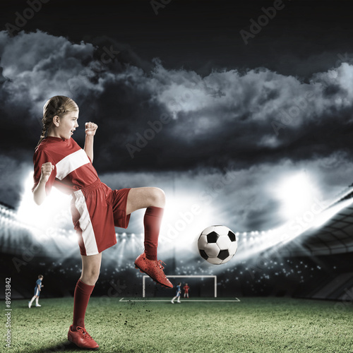 Tuinposter Voetbal Football female player
