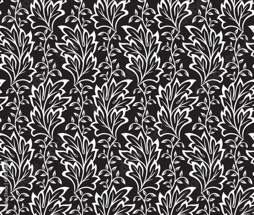 Fototapety, obrazy: seamless Leaves on black pattern