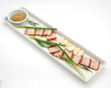 Ham With Garlic And Mustard Isolated On White