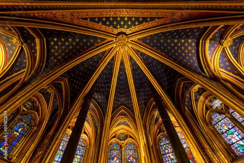 Fotografía Lower chapel ceiling, Sainte Chapelle, Paris, France
