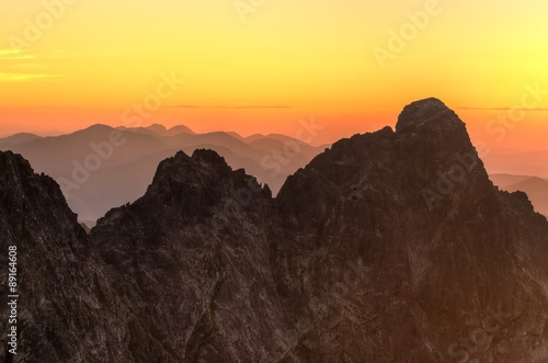 Fotobehang Zwavel geel Mountain landscape. Polish and Slovak Tatra Mountains at sunset.