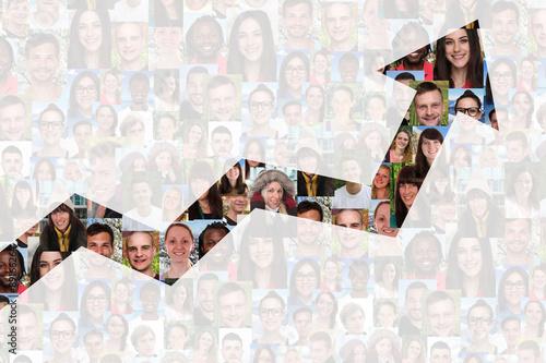 Fotografie, Obraz  Wachstum mit Erfolg oder erfolgreich Strategie im Business Mensc