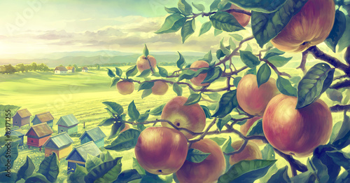 Poster de jardin Jaune de seuffre Summer landscape with apple branches. Digital paint.