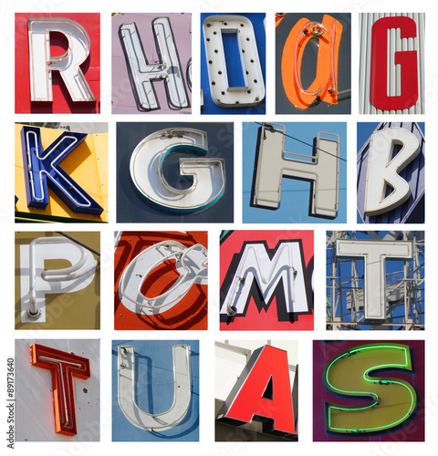 collection of neon letters